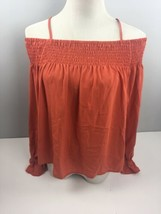 Ultra Flirt Top M Medium Orange Off the Shoulder Poet Blouse Shirt NWT LL22 - $12.49