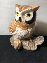 Vintage Ceramic Owl on Log Bird Figurine Curio Cabinet Shelf Decor a - $18.70