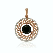Two-Tone Black Spinel Gemstone 925 Sterling Silver Circle Wedding Yellow... - $15.67