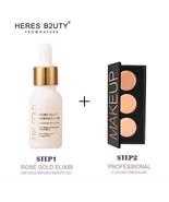 24K GOLD INFUSED BEAUTY Oil + 3 Color Face Concealer Palette Makeup Prim... - $18.95