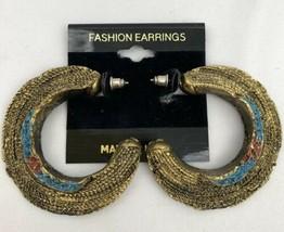 Textured Plastic Hoop Earrings Pierced NOS Gold Tone Vintage Boho Chunky Blue - $7.86