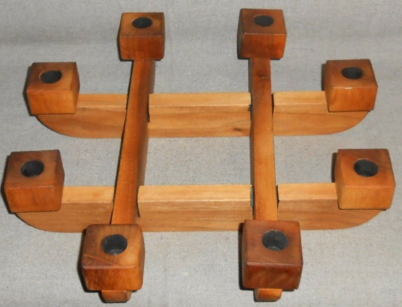 Primary image for Interlocking 4 pc TEAK WOOD CANDLEHOLDER - Eight Candle Capacity MID CENTURY