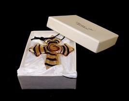 Glass Cross Charm/Pendant, Murano Art Deco, Cassiani Collection, Gift Bo... - $8.77