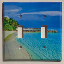 Blue Tropical beach ocean Light Switch Power Outlet Wall Cover Plate Home decor image 2