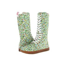 Doc Martens BATTERSEA Colorful Floral Canvas 14-Eye & Zipper Boots Wms 6 NWT - $66.99