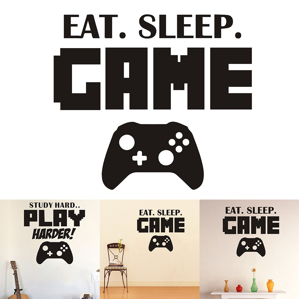 "Letter Printing SeriesEAT SLEEP""Game Handle Version Decal Vinyl Art Decal Design"