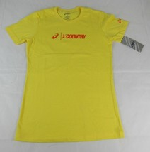 ASICS Women's Sport T Shirt Top Yellow Workout Training Cotton Scoop Neck Size S - $9.49