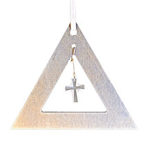 Aluminum and Crystal Triangle Ornament  Cross image 1