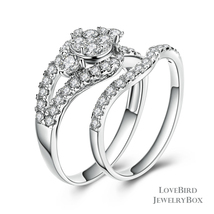 Cluster Split Side Stone 925 Sterling Silver Cubic Zirconia Engagement Ring Set - $52.56