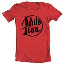 White Lion logo T-shirt retro 80's heavy metal glam rock 100% cotton red tee image 1
