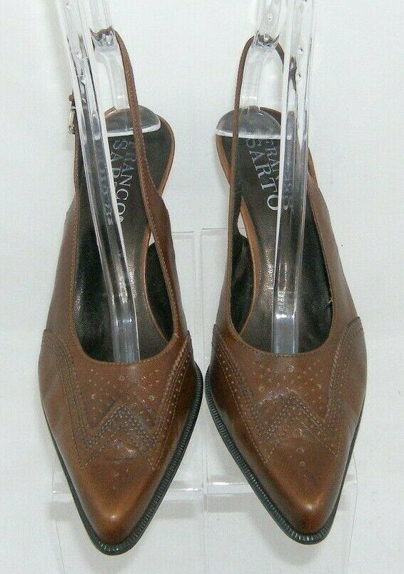 Franco Sarto brown leather pointed oxford brogue buckle slingback heels 7.5M image 6