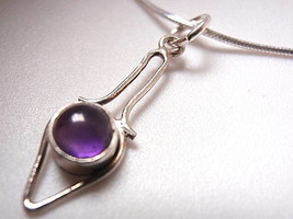 Small Purple Amethyst 925 Sterling Silver Pendant Corona Sun Jewelry - $5.44