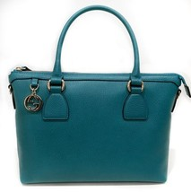 GUCCI 449659 Interlocking G Charm Leather Satchel Handbag, Deep Cobalt - £654.99 GBP