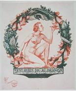 NUDE EX LIBRIS Flower Queen in Wreath of Blue Bells - 1922 Lichtdruck Print - $16.20