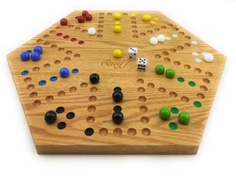 Solid Oak Wood Double Sided Aggravation Marbles Board Game Hand Painted ... - $87.03