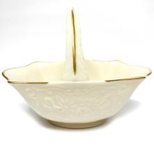 """Vintage Lenox Porcelain Basket Embossed Floral Design Gold Trim 6"""" Wide - $12.50"""