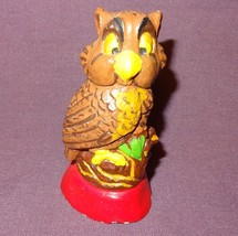 "Vintage Owl Brown Chalkware Figurine 3"" - Chipped - $9.89"