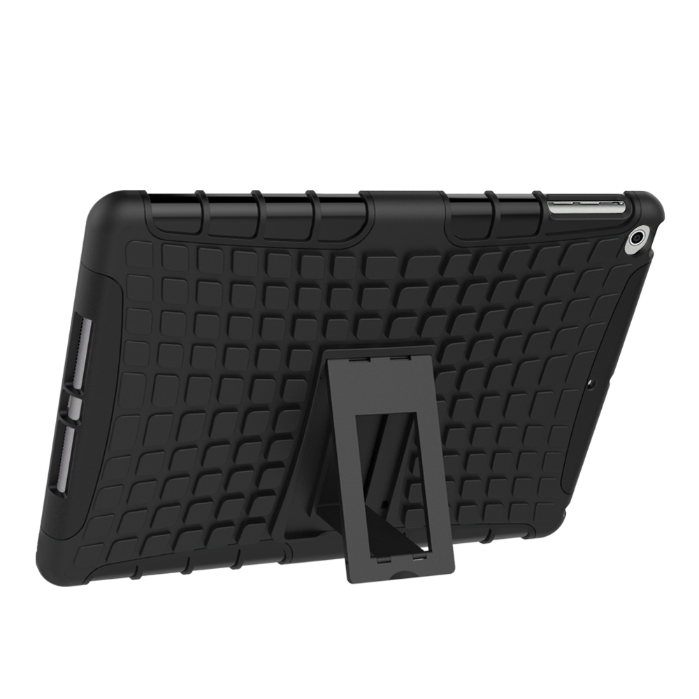 Dual Layer Protective Kickstand Case For Apple iPad 9.7 (2017) - Black