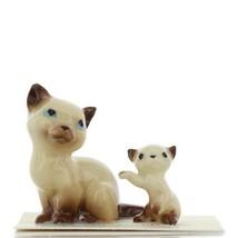 Hagen Renaker Miniature Cat Siamese Mama and Kitten Boxing Ceramic Figurines