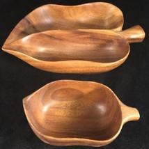 2 Signed Blairs Hawaii Monkey Pod Wood Bowls divided bowl vintage - $14.03