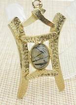 Picasso Stone Cabochon Asian Themed Gold Tone Pendant Vintage - $29.69