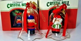 Avon Gift Collection, Holiday Glass Bell Ornament, Santa and Snowman - $22.76