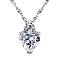 Necklace Choker for Women Crystal Heart silver Necklaces Romantic Fashion Classi - $7.59