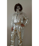 Man Woman Ski Suit Silver Metallic Overall Jumpsuit Balaklava Balaclava Outwear - $349.00