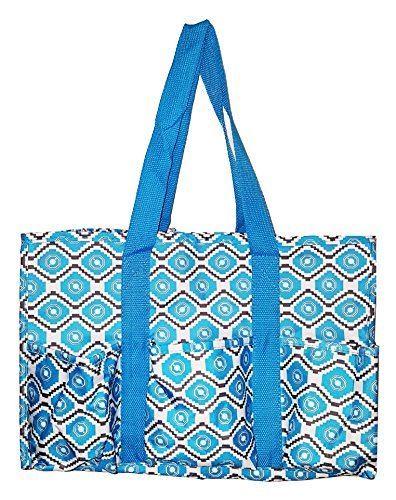 7 Pocket Fashion Print Tote Utility Bag (Geometric Turquoise)