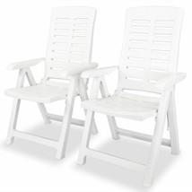 vidaXL 2x Reclining Garden Chairs Plastic White Outdoor Chair Bistro Chair - $103.99
