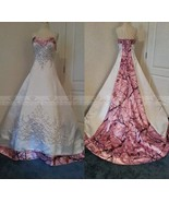 Pink Camo Wedding Dresses Ball Gown Camouflage Embroidery Appliques Brid... - $229.99