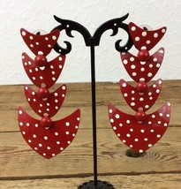 "Vintage 1980's Hip Retro Red and White Polka Dot Dangle Earrings 3.5""  (88) - $17.81"