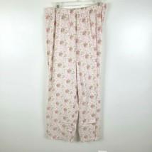 Pajama Pants Womens Size L Large Pink Floral Print Lounge Elastic Waist ... - $8.99