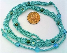 Blue Turquoise Beaded Daisy Chain Necklace - $16.99