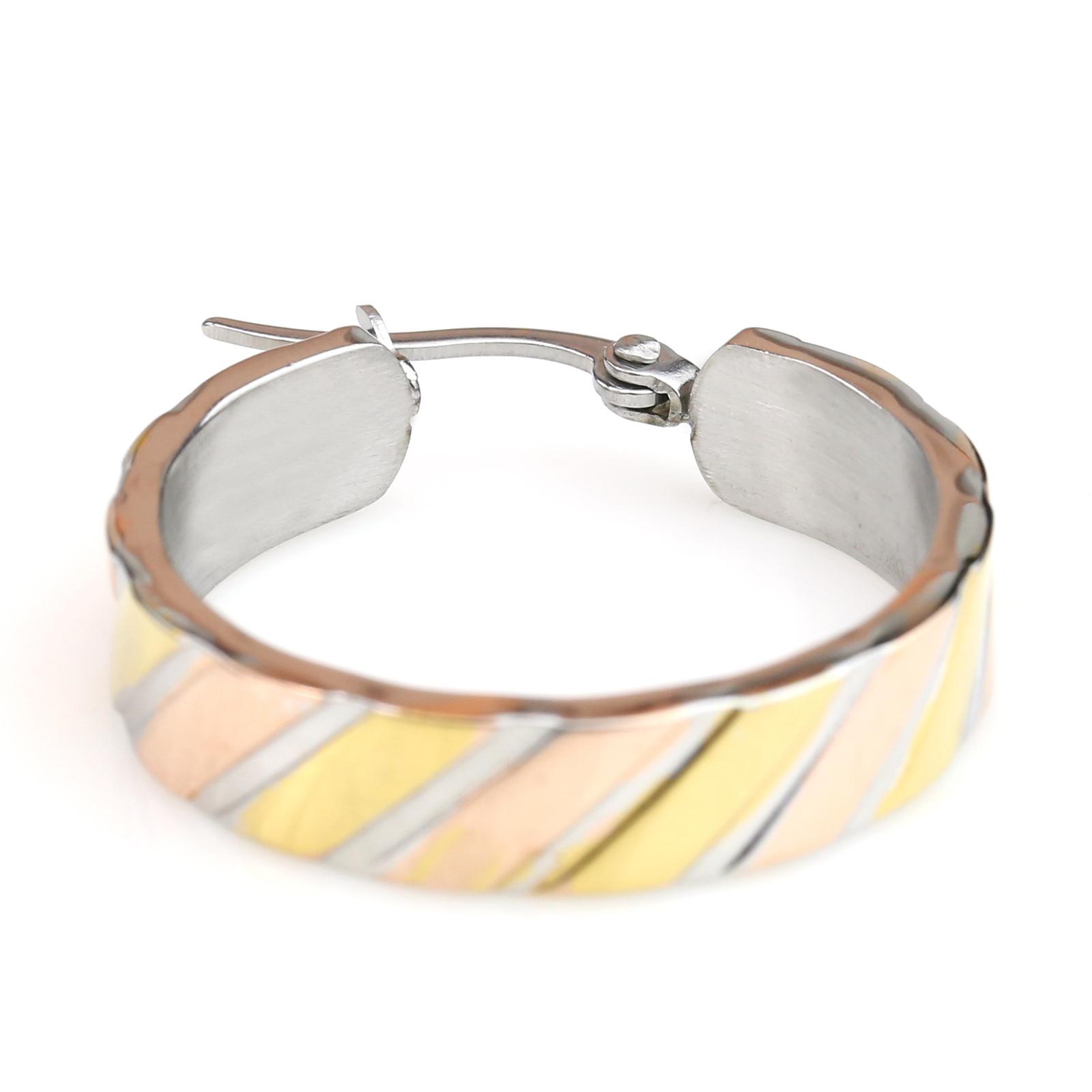 Diagonal Stripe Tri-Color Silver, Gold & Rose Hoop Earrings- United Elegance