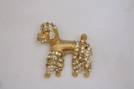 Vintage fancy poodle dog brooch Asian style rhinestone openwork texture ... - $35.63