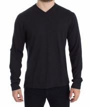 Dolce & Gabbana Gray Silk Cashmere V-neck Sweater Pullover 14904 - $363.33