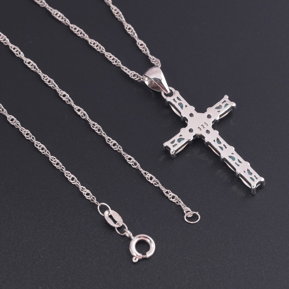 White & Blue Cross Opal Pendant & Necklace Silver Plated Gem Crucifix Charm With image 5