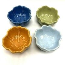 Pfaltzgraff Set of 4 Small Bowls Hibiscus Pattern Pastel Colors Candle Holders - $23.36