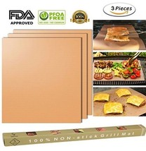 Set 3 Copper Grill Mat BBQ Pad Non Stick Barbecue Mat Cooking Chef Bake ... - €9,25 EUR