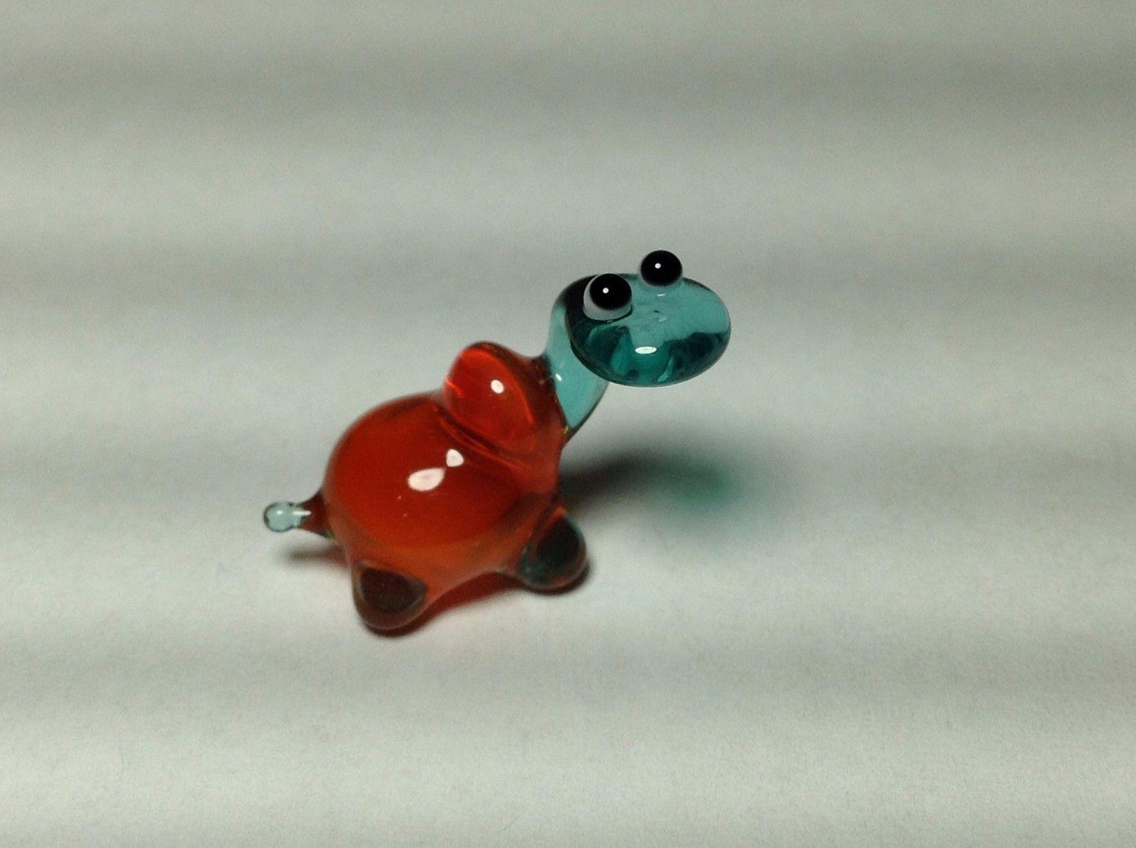 Miniature Glass teal and orange turtle Handmade Blown Glass Made USA