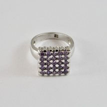 925 Silver Ring Rhodium with Square with Crystals Purple Cut Round image 1