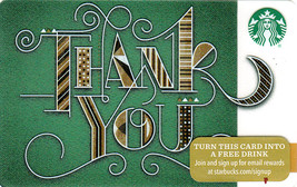 Starbucks 2015 Green Thank You Collectible Gift Card New No Value - $4.99