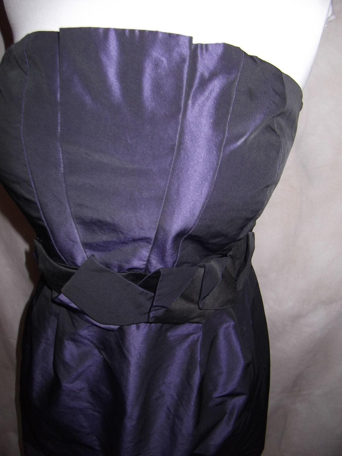 New BCBG Strapless Dress Taffeta Bubble Size 12 Eggplant Purple Pleated Bust