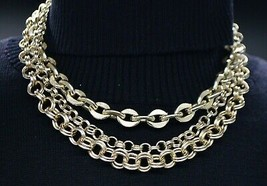 Gold Tone CORO Signed Multi-Strand Chain Link Choker Necklace Vintage - $34.64