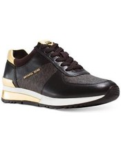 Michael Kors MK Women's Allie Trainer Leather Sneakers Shoes Brown