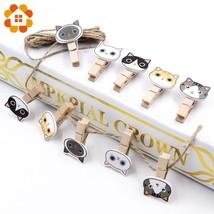 10Pcs/lot Cute Cat Wooden Clip Photo Paper Postcard DIY Wood Crafts Part... - ₨506.88 INR