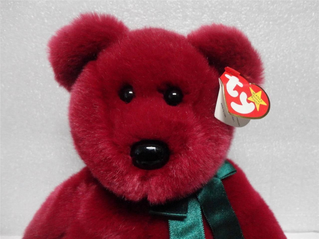 TY Beanie Buddy Teddy 1998 Cranberry Bear with Green Ribbon