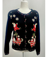 Christmas Knit Sweater Heirloom Collectibles Black Felt Santa Candy Cane... - $18.39