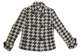 Talbots Exploded Houndstooth Wool Blazer Petite 10 Large Black White Woo... - $144.54